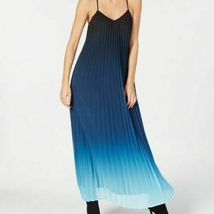 BAR III Blue Ombre Racerback Pleated Maxi Dress
